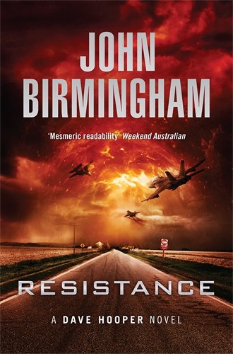 Resistance cover: a road in the middle of nowhere leads into a stormy sky with airplanes and explosions